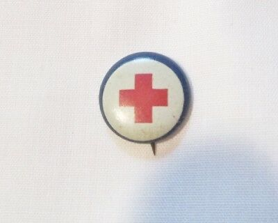 """Vintage Small Red Cross Button Pin 5/8"""" American Art Works Coshocton Ohio"""