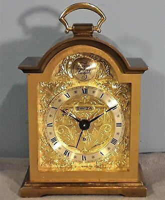 Vintage Swiza Tempus Fugit Clock with Alarm Mechanical Swiss Made