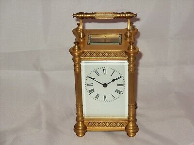 Antique French 8Day Gilt Ormolu & Filigree Fretwork Carriage Clock, Working Good