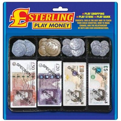 Pretend Sterling Pounds Play Money Set Role Play Educational Fake Notes Coins