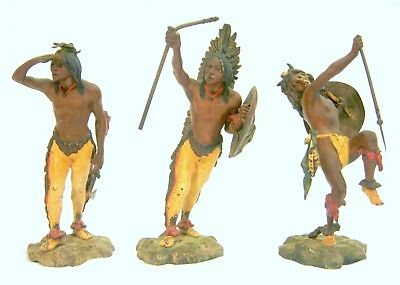 Group of Three Antique Bergman Cold Painted Bronze Statues Native Americans