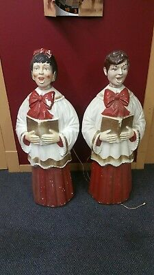 Vintage BECO Choir Boy & Girl Outdoor Christmas Blow Mold Lawn Ornaments