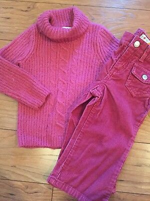 Cherokee Old Navy 18 24 Mo Girl Outfit Lot Sweater Pants Raspberry Wine Pink