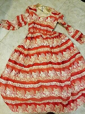 Vintage Lisa MERIL 1950S MID CENTURY party Dress Red