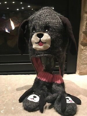 TCP Knit Puppy Gray Pink Mittens And Hat  Sz 4-7 Girls