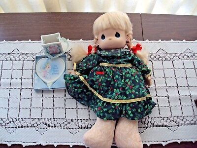 Precious Moments Lot of 3 Items Christmas Doll and Two Ornaments Good Condition