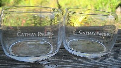 Vintage Cathay Pacific Airline Glasses Cocktail First Class Tumbler Glass Set 2