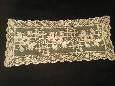 Antique Victorian French tambour lace table runner late 1800's ecru in color