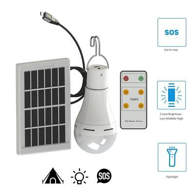 20 COB LED Solar Light USB Rechargeable Hanging Bulb Outdoor Camping Lamp 7W 9W