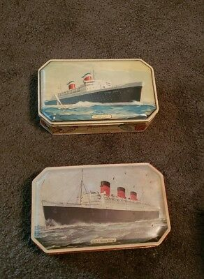 SS United States & RMS Queen Mary Tin Candy Boxs Bensons English c. 1930s 40s
