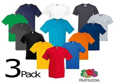 3 PACK Fruit Of The Loom V-NECK T-SHIRT PLAIN TOP COTTON LYCRA SIZES MEN OFFER