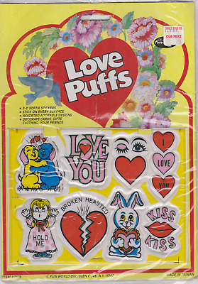 Vintage Lot Of 3 Packs Of Love Puffs Puffy 1980's Valentines Day Stickers Retro