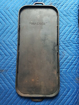 Antique Pre 1914 Wagner # No 8 Cast Iron Griddle Long Oval HTF Rare Arch USA Vtg