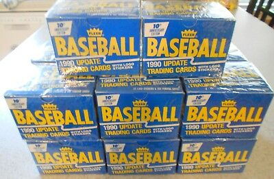 1990 Fleer 14 Sealed Sets Baseball Update Cards & Logo Stickers 10th Edition