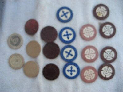 19 old clay poker chips - 7 different - sailing ship. shamrock, horseshoe, etc.