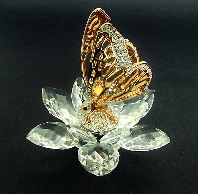 Swarovski BUTTERFLY IN FLIGHT Gold Jeweled Wings Crystal Base RARE