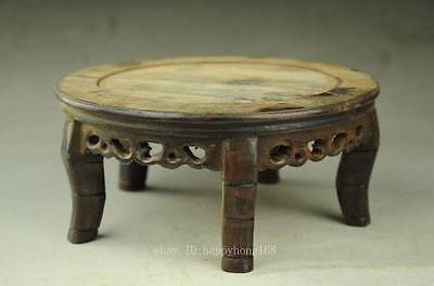 Antique Chinese Hand Carved Footed old Wood Stand Jade in the inside large c01