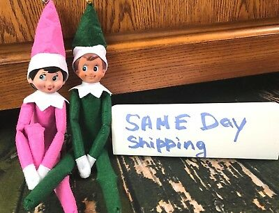 Brand New Set of 2 Elf Dolls Green Boy and Pink Girl Christmas Same Day Shipping