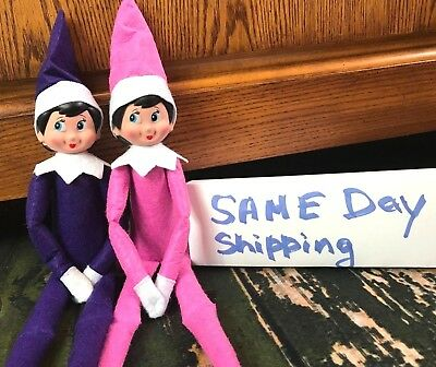 Brand New Set of 2 Elf Dolls Pink and Purple Girl Christmas Same Day Shipping