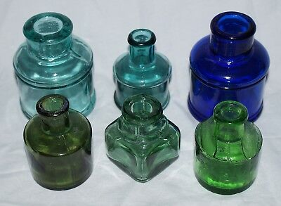 Colored Ink - Six Piece Antique Ink Bottle Lot Various Colors And Types