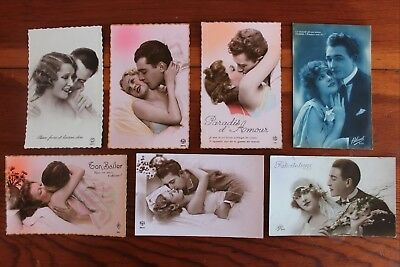 7 Vintage French Postcards Couples Real Photos Color and Black & White RPPC