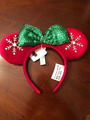 Disney World 2018 Holiday Christmas Red and Green Snowflake Minnie Ears Headband