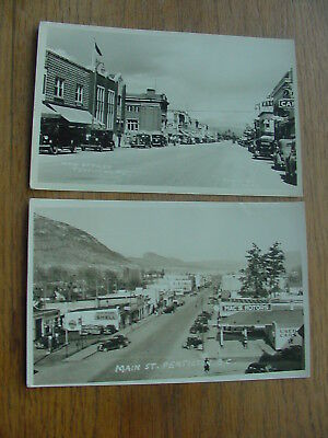 Lot Of 2 1930S Real Photo Post Cards Penticton, Bc Canada Main Street Rppc