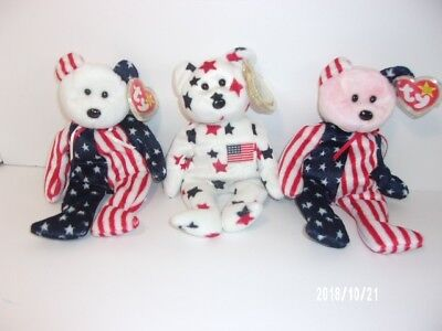 TY Beanie Babies Red, White and Blue set of 3