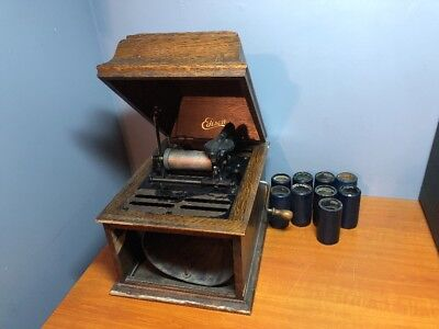 Antique Edison Amberola 30 Cylinder Player Phonograph W/ 9 Cylinders