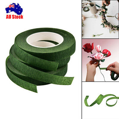 3x Durable Rolls Waterproof Green Florist Stem Elastic Floral Flower 12mm Tape
