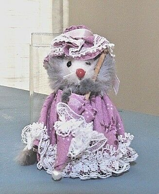 Vintage Orig The Little Mouse Factory  Real Fur Fancy Dressed W/closed parasol