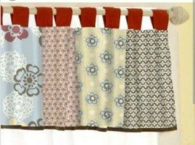 CoCaLo Butterfly Flowers Sundae Window Tab Valance Nursery Baby Brown Blue Red