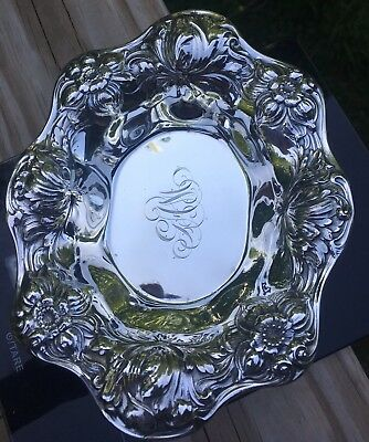 Antique Small Serving Dish Sterling Silver-deep plate-A3964-Strong silver casti