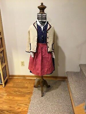 Austrian German Dirndl with apron and sweater Handmade for young girl