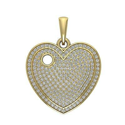1.25Ct Round Diamond Heart Pendant Necklace 14K White Yellow Rose Gold 0.82 Inch