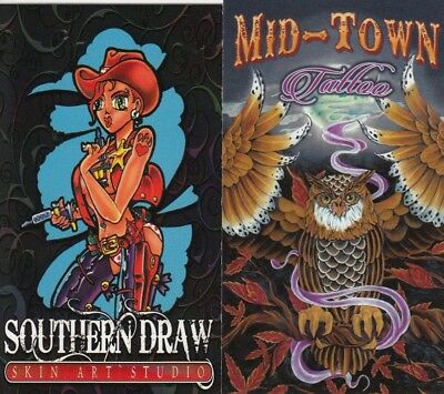 Tattoo Business Card for Collector 16 each - Cow Girl & Owl