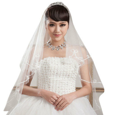 1.5M 1 Layer Women Bridal White Short Wedding Tulle Veil Circular Without Comb