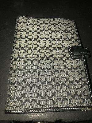 Coach Brown Signature Leather Trim Canvas Planner Agenda Address Book Cover