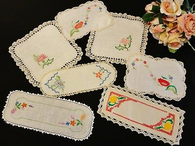 Seven Small Vintage Hand Embroidered Doilies