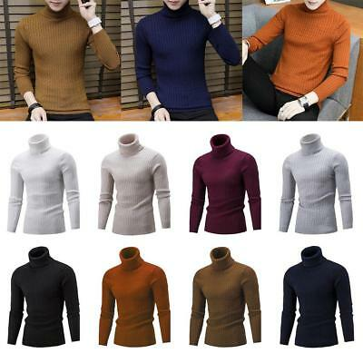 Winter Men Slim Warm Knit High Neck Pullover Jumper Sweater Top Turtleneck#