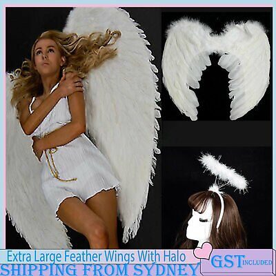 Feather Angel Fairy Wing Angel Halo Headband Halloween Party Costume Dress Kids