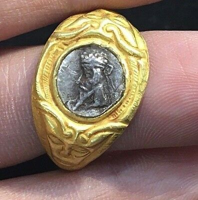 Ancient Silver Coin Roman King Genuine ARTEMIS Cameo Face Solid 22K Gold Ring