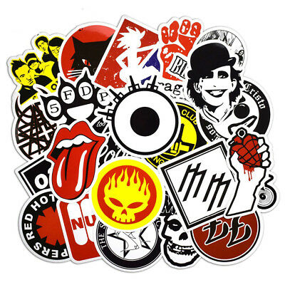 50 Pcs Rock & Roll Stickers Punk Sticker Vinyl Decals for Skateboard Motorcycle