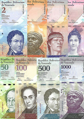 Venezuela FULL Set 13 PCS 2 - 100000 Bolivares Unc. Uncirculated.2007-2017y.y.