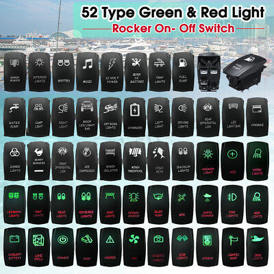 12V 24V Car Boat Marine SUV Green & RED Dash Dual LED Light Rocker Switch ON/OFF