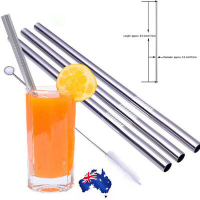 4x Stainless Steel Metal Drinking Straw Straight Reusable Washable With Brush