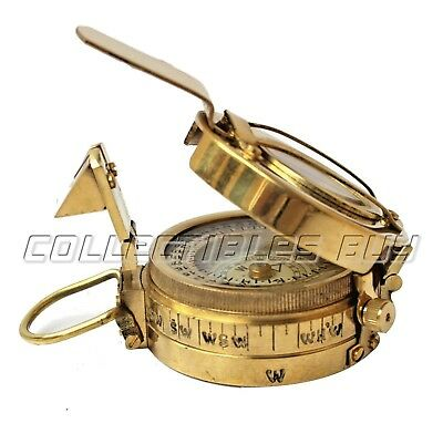 Antique Maritime Brass Compass Military Device Vintage Pocket Gift Instrument