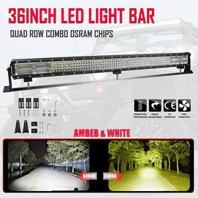 36Inch Quad Row LED Work Light Bar Combo Driving Offroad SUV Truck White Amber