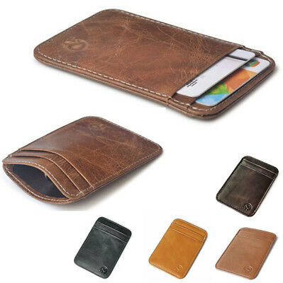Mens Genuine Leather Thin Wallet ID Money Credit Card Slim Holder Money Pocket