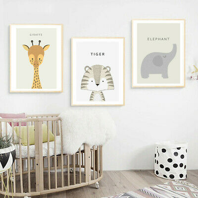 Animal Tiger Rabbit Canvas Poster Prints Nursery Pictures Baby Room Decoration